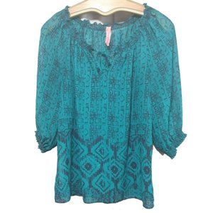 Eight Sixty Teal Sheer Blouse PL